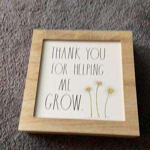 Rae Dunn Thank You Fir Helping Me Grow Sign